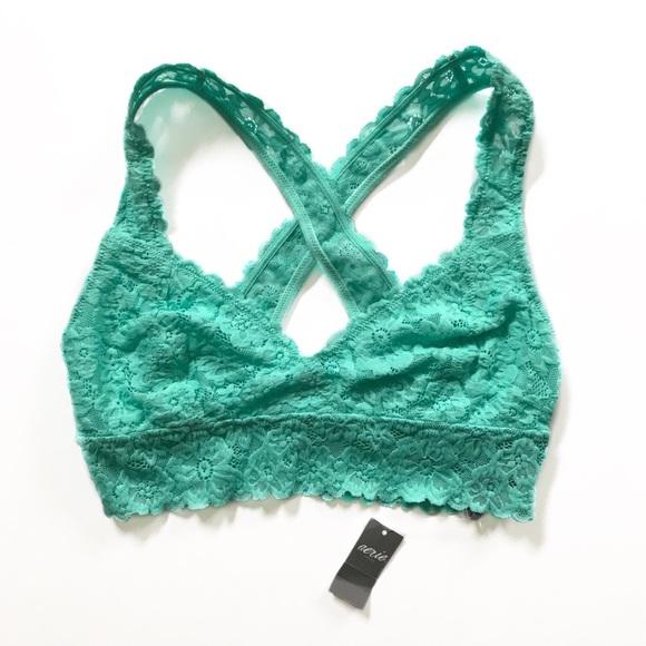 26e58247c8d NWT AERIE • mint green cross back lace bralette